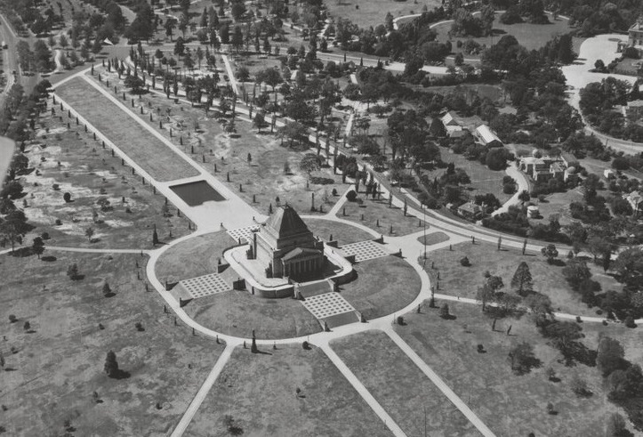 Shrine of Remembrance, Melbourne, 1946, SLV_cropped